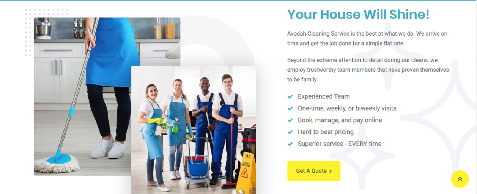 Avodah Cleaning Service website image